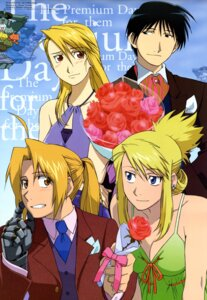 Rating: Safe Score: 13 Tags: business_suit cleavage dress edward_elric fullmetal_alchemist riza_hawkeye roy_mustang tomioka_takashi winry_rockbell User: charunetra
