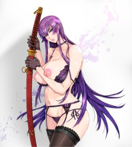Rating: Questionable Score: 85 Tags: bra breasts busujima_saeko fei garter_belt highschool_of_the_dead maidoll nipples pantsu stockings string_panties sword thighhighs User: blooregardo