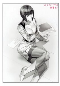 Rating: Questionable Score: 18 Tags: ables'_secretary bra breast_hold cleavage fool's_art_gallery gundam gundam_unicorn heels homare monochrome open_shirt pantsu stockings thighhighs uniform User: Radioactive