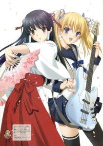 Rating: Safe Score: 40 Tags: guitar kurusu_manami miko oouchi_itsuki peco seifuku tamafuri_series thighhighs User: syaoran-kun