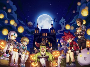 Rating: Safe Score: 24 Tags: aisha_(elsword) armor chung_(elsword) cleavage elsword elsword_(elsword) eve_(elsword) halloween landscape lena_(elsword) pointy_ears raven_(elsword) tagme thighhighs witch User: h71337