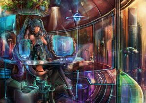 Rating: Questionable Score: 21 Tags: ensinn hatsune_miku headphones heels no_bra thighhighs vocaloid User: sylver650