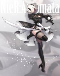 Rating: Safe Score: 45 Tags: cleavage dress heels nier_automata sword takamiya_ren thighhighs yorha_no.2_type_b User: Mr_GT