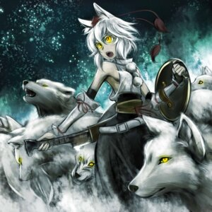 Rating: Safe Score: 19 Tags: animal_ears inubashiri_momiji kouji_oota sword tail touhou User: Mr_GT