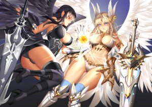 Rating: Questionable Score: 47 Tags: armor ass bikini_armor cameltoe erect_nipples heels king's_raid lucknight pointy_ears sword thighhighs wings User: Mr_GT