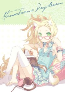Rating: Safe Score: 43 Tags: animal_ears h2so4 headphones megane tail thighhighs User: blooregardo