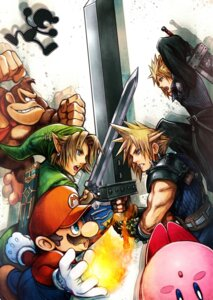 Rating: Safe Score: 16 Tags: cloud_strife donkey_kong_(character) kirby link male mario mr._game_&_watch nintendo nomura_tetsuya super_smash_bros. sword User: Radioactive