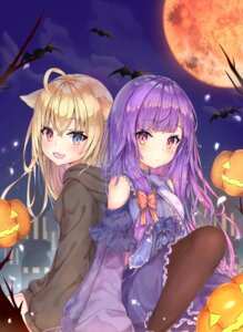 Rating: Safe Score: 26 Tags: animal_ears dress halloween heterochromia mishuo_(misuo69421) pantyhose User: sym455