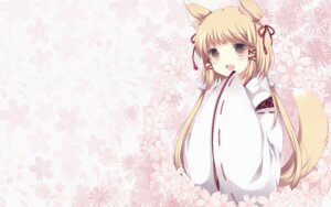Rating: Safe Score: 16 Tags: kitsune miko takase_kanan wallpaper User: bunnygirl
