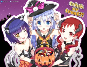 Rating: Safe Score: 38 Tags: animal_ears gochuumon_wa_usagi_desu_ka? halloween horns joukawa_maya jpeg_artifacts kafuu_chino natsu_megumi no_bra tail witch xephonia User: fairyren