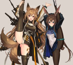 Rating: Questionable Score: 24 Tags: amiya_(arknights) animal_ears arknights bunny_ears cameltoe ceobe_(arknights) garter inumimi pantsu pantyhose sigma99 skirt_lift tail thighhighs weapon User: Arsy