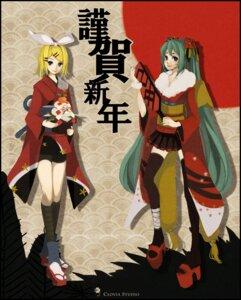 Rating: Safe Score: 7 Tags: hatsune_miku kagamine_rin reika_(clovia_studio) thighhighs vocaloid yukata User: Nekotsúh