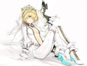 Rating: Questionable Score: 52 Tags: bodysuit fate/grand_order heels no_bra open_shirt saber_bride saber_extra silver_(chenwen) sword User: AnoCold