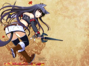 Rating: Questionable Score: 13 Tags: animal_ears i.s.w nekomimi nekonote sword tail thighhighs wallpaper User: hirotn
