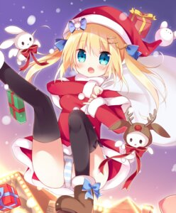 Rating: Questionable Score: 44 Tags: christmas dress hoshiu3 pantsu shimapan thighhighs User: Mr_GT