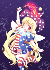Rating: Safe Score: 40 Tags: clownpiece dress pantsu pointy_ears sefa thighhighs touhou wings User: Mr_GT