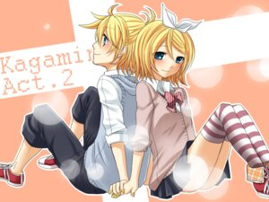 Rating: Safe Score: 16 Tags: kagamine_len kagamine_rin thighhighs vocaloid yayoi User: Nekotsúh