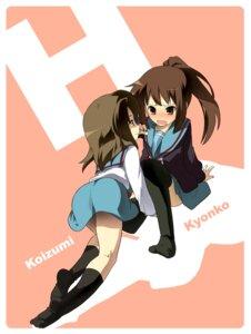 Rating: Questionable Score: 14 Tags: genderswap koizumi_itsuki kyon kyonko seifuku suzumiya_haruhi_no_yuuutsu thighhighs User: hirotn