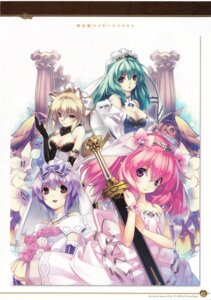 Rating: Questionable Score: 26 Tags: agarest_senki agarest_senki_2 aina_(agarest_senki) animal_ears cleavage dress felenne fiona_(agarest_senki) hirano_katsuyuki nekomimi screening sword victoria_(agarest_senki) wedding_dress User: shadowninja