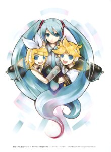 Rating: Safe Score: 10 Tags: hatsune_miku kagamine_len kagamine_rin kei vocaloid User: fireattack