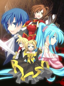 Rating: Safe Score: 11 Tags: dress hanepochi hatsune_miku kagamine_len kagamine_rin kaito meiko vocaloid User: charunetra