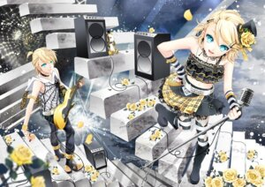 Rating: Safe Score: 26 Tags: cocoon_(loveririn) guitar kagamine_len kagamine_rin thighhighs vocaloid User: charunetra