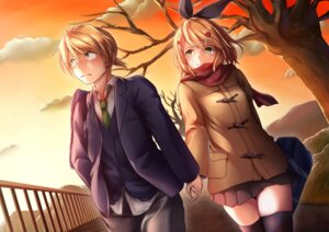 Rating: Safe Score: 14 Tags: bit kagamine_len kagamine_rin seifuku thighhighs vocaloid User: mash