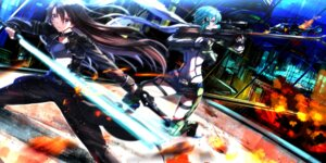 Rating: Safe Score: 16 Tags: armor gun gun_gale_online kirito sinon sword sword_art_online swordsouls User: charunetra