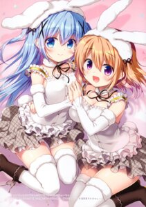 Rating: Safe Score: 23 Tags: animal_ears bunny_ears cleavage dress gochuumon_wa_usagi_desu_ka? hoto_cocoa kafuu_chino sasai_saji tail thighhighs User: kiyoe