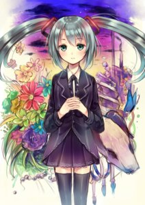 Rating: Safe Score: 33 Tags: hanekoto hatsune_miku saihate_(vocaloid) seifuku thighhighs vocaloid User: aihost