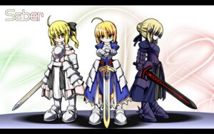 Rating: Safe Score: 16 Tags: armor chibi fate/stay_night saber saber_alter saber_lily sword u-ka wallpaper User: xu04bj35265