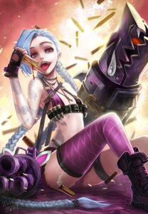 Rating: Questionable Score: 45 Tags: bikini_top cleavage goomrrat gun jinx league_of_legends tattoo thighhighs User: charunetra