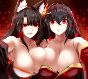 Rating: Questionable Score: 47 Tags: akagi_(azur_lane) animal_ears azur_lane cleavage japanese_clothes kitsune minarai_tenna no_bra open_shirt symmetrical_docking taihou_(azur_lane) User: mash