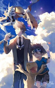 Rating: Safe Score: 10 Tags: agumon character_design digimon digimon_adventure digimon_adventure_tri. ekita_xuan male monster omegamon seifuku yagami_taichi User: charunetra