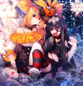 Rating: Safe Score: 25 Tags: animal_ears bandages halloween headphones nekomimi thighhighs witch yun_(outsidey) User: Mr_GT