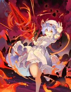 Rating: Safe Score: 15 Tags: remilia_scarlet rin_falcon skirt_lift touhou weapon wings User: Dreista