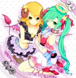 Rating: Safe Score: 28 Tags: angel cleavage devil garter hatsune_miku heels horns kagamine_rin lolita_fashion macco pantyhose tail tatibana_yun vocaloid wings User: Radioactive
