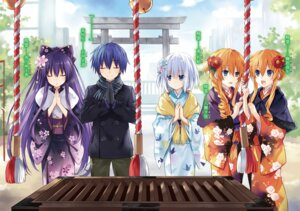 Rating: Safe Score: 80 Tags: date_a_live itsuka_shidou kimono tobiichi_origami tsunako yamai_kaguya yamai_yuzuru yatogami_tooka User: WhiteExecutor