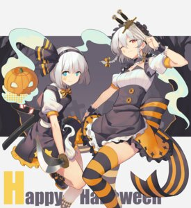 Rating: Safe Score: 37 Tags: halloween izayoi_sakuya konpaku_youmu llc maid sword thighhighs touhou weapon User: nphuongsun93