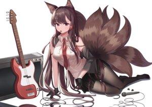 Rating: Questionable Score: 28 Tags: akagi_(azur_lane) animal_ears azur_lane kitsune no_bra open_shirt pantyhose tail tlgn001018 uniform User: Arsy
