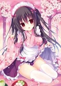 Rating: Questionable Score: 25 Tags: hasune kimono maid skirt_lift thighhighs wa_maid User: Twinsenzw
