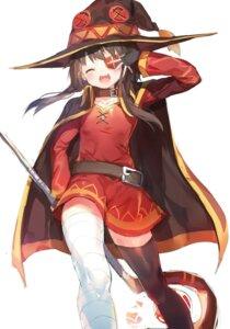 Rating: Safe Score: 55 Tags: bandages dress eyepatch kono_subarashii_sekai_ni_shukufuku_wo! megumin thighhighs umibouz weapon witch User: nphuongsun93
