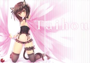 Rating: Questionable Score: 56 Tags: animal_ears breasts carnelian fixme gap garter kantai_collection lingerie nekomimi no_bra pantsu see_through taihou_(kancolle) tail thighhighs User: Twinsenzw