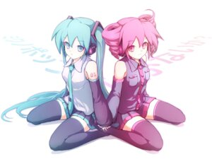 Rating: Safe Score: 13 Tags: hatsune_miku kasane_teto takunama thighhighs utau vocaloid User: charunetra
