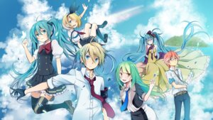 Rating: Safe Score: 29 Tags: dress hatsune_miku kagamine_len kagamine_rin seifuku thighhighs vocaloid wogura User: dyj