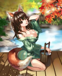 Rating: Questionable Score: 104 Tags: animal_ears chushengdao cleavage kaku-san-sei_million_arthur kitsune no_bra onsen tail yukata User: mash