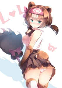Rating: Questionable Score: 36 Tags: animal_ears ass kanzakietc kemono_friends kodiak_bear_(kemono_friends) pantsu tail thighhighs User: Mr_GT