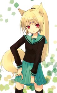 Rating: Safe Score: 33 Tags: animal_ears fujitsubo-machine ito_noizi kitsune seifuku tail thighhighs User: Kalafina