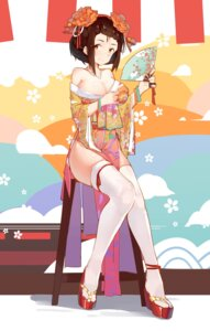Rating: Safe Score: 55 Tags: cleavage kimono open_shirt shendaimenghuatan thighhighs uta_(artist) User: Mr_GT