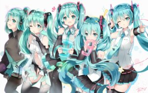 Rating: Safe Score: 56 Tags: hatsune_miku headphones kuroi_asahi tattoo thighhighs vocaloid User: RyuZU